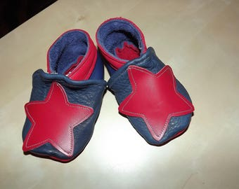 BOOTIES boy size 21 red and blue leather