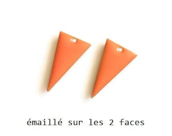 Set of 2 orange enamel Triangles, 22x13mm charm sequin studded with 2 sides