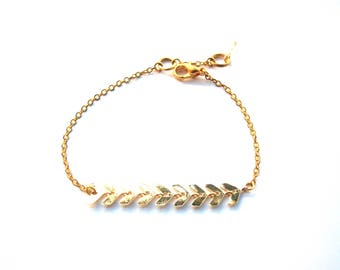 Gold Spike and swarovski crystal bead chain bracelet