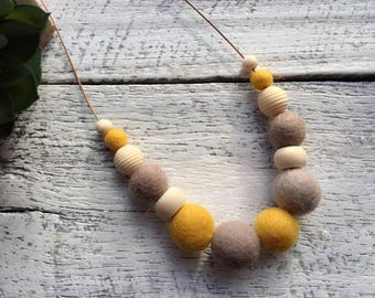 Felt Wool Ball Bead Necklace - Mustard/Brown