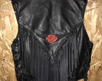 Leather Harley Davidson fringe vest
