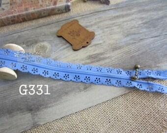 2 x zippers fancy lace lace blue G331 20 cm