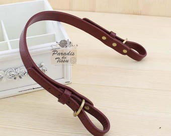 2 x straps handles attached to leather bag red PU