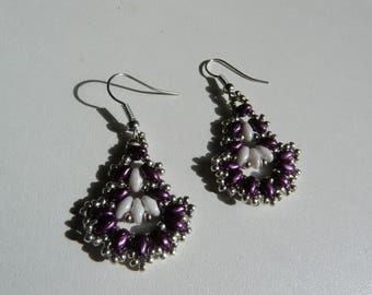 "BEADWOVEN EARRINGS ""LILAC AND WHITE"""