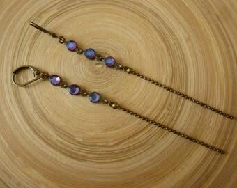 Earrings long purple rhinestones