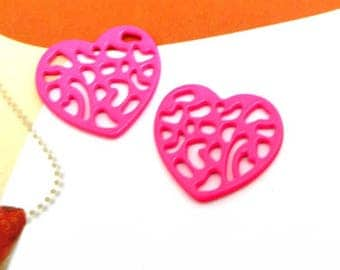 Set of 2 hearts filigree pink bright medium thickness - 16.5 * 18 mm