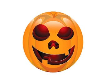 2 cabochons 10 mm glass Halloween Smiley Orange 1-10 mm