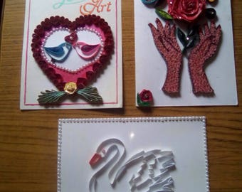 Handmade popular paper quilled greeting card