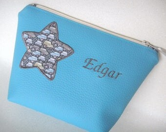 """""""Name"""" to customize turquoise leatherette case with appliqué star"""