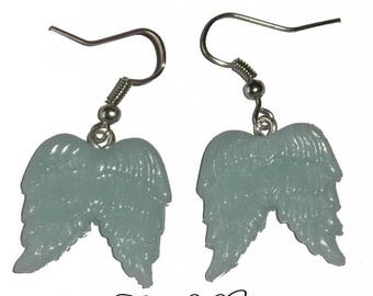 Earrings Angel Wings, Fimo, mint
