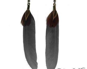Grey and natural feather earrings