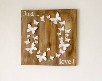 Wooden framed Canvas 3D butterflies