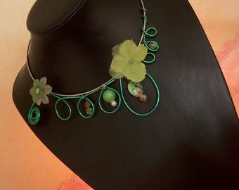 Necklace aluminum and copper - green