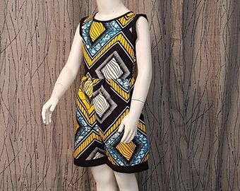 Romper in yellow, blue, black cotton Wax. Very trendy. HAND MADE