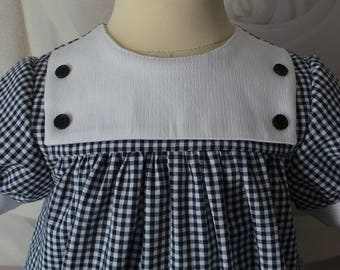 romper 18 months in Navy Blue gingham and white