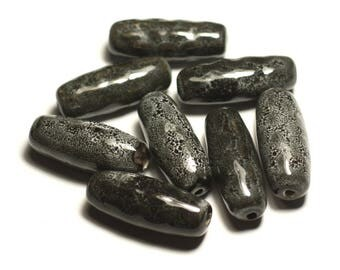 2PC - ceramic porcelain olive bobbin 31mm grey black Anthracite - 8741140017498 rice beads