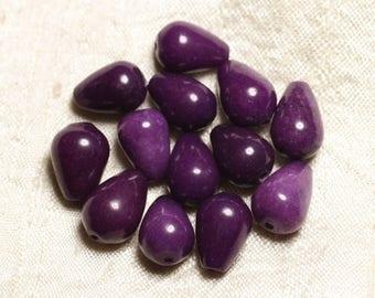 4pc - beads - Jade drops 14x10mm purple - 4558550082701
