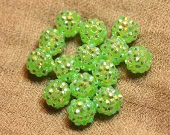 5pc - pearls Shamballas 12x10mm 4558550019806 Transparent green resin