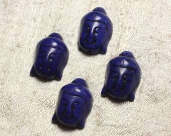 2PC - Pearl Buddha 29mm synthetic blue Turquoise 4558550000644