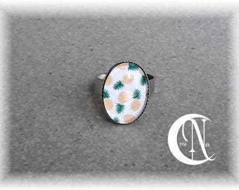 Silver PINEAPPLE cabochon ring