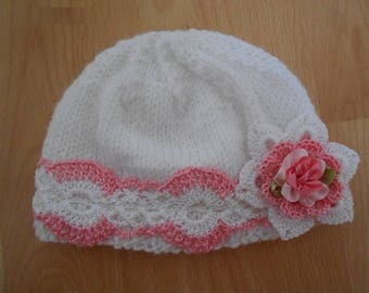 Baby Girls Pink Wool Bonnet