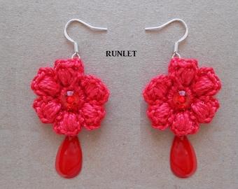 Red crochet Flower Earrings