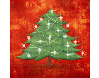 Set of 3 paper napkins NOE016 tree and lights on red background