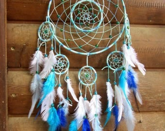 Intricate dream catcher / Turquoise / actual 65 cm