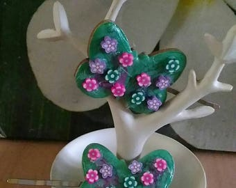 2 barrettes cute spring floral butterflies