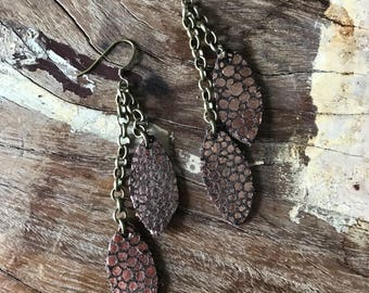 Leather Earrings-rose gold and brown leather leaf with bronze chain dangle earrings