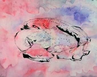 Sleeping Deer Original Watercolor Painting