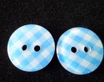 10 buttons gingham sky blue and white 12 mm
