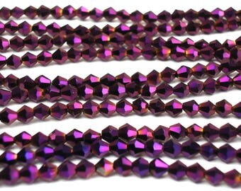 100 metallic 4 mm plum colored glass faceted beads