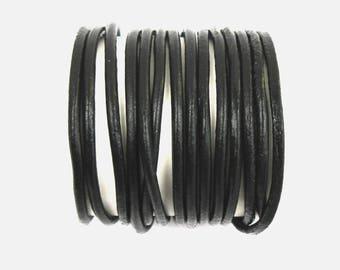 BLACK leather cord smooth 3 mm in diameter X 1 meter