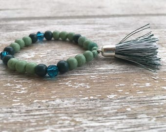 Beaded Bracelet with Tassel: EVERGREEN GREEN