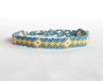 Yellow white blue Friendship Bracelet patterns geometric diamonds Brasilda cotton hippie woven bracelet