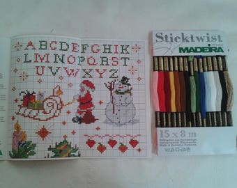 set of 15 cottons and counted models counted to make Christmas stitch patterns