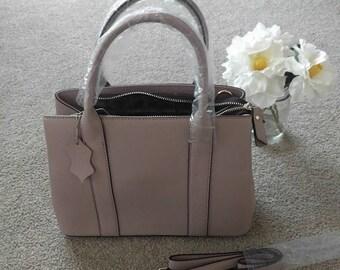 Tan/light pink mini handbag