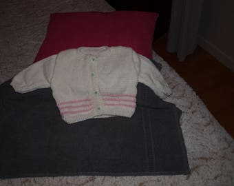 CARDIGAN HANDMADE PINK AND WHITE SIZE 3 MONTHS