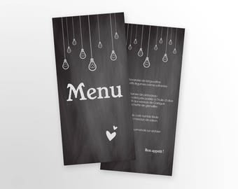 Menu wedding - slate - to customize