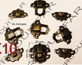 Set of 10 clasps Bronze latch lock box treasure chest box 30 by 30 mm screw included