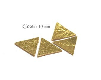 6 triangles genuine leather - Triangle - sides: 15 mm - goat leather - Gold Shiny Gold color set