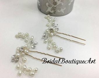 Wedding pearl hairpin,Pearl flower hairpin,bridal hairpin,bridesmaid gift