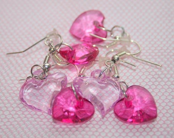 "Earrings ""Valentine"" translucent Pink Hearts"