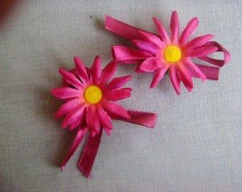 Set of 2 flowers, Daisy fabric fuschia