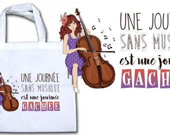 """CANVAS TOTE BAG NONWOVEN """"A DAY WITHOUT MUSIC IS A DAY WASTED"""""""
