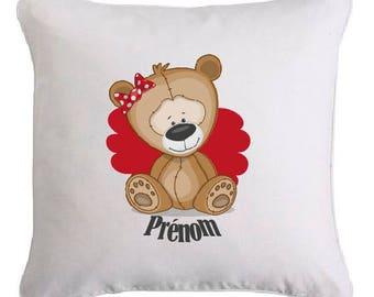 Personalized little teddy bear cushion