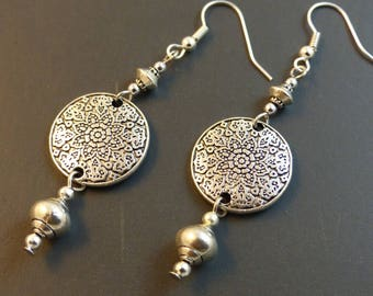 ♥ ♥ Silver Medallion earrings