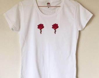 White Rose Embroided T-Shirt