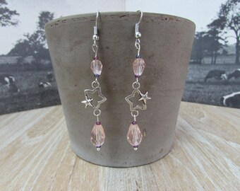 "Earrings ""my lucky star"" light pink"